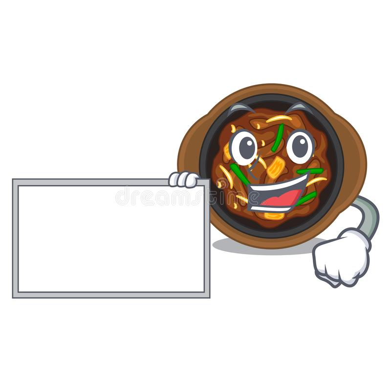 With board bulgogi is served on mascot plate. Vector illustration royalty free illustration