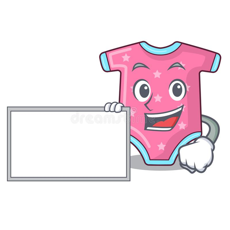 With board character baby clothes hanging on clothesline. Vector illustration vector illustration