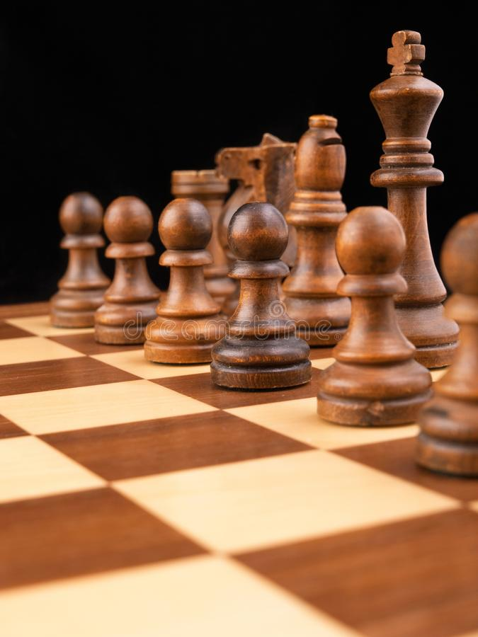 Board and chess pieces royalty free stock image