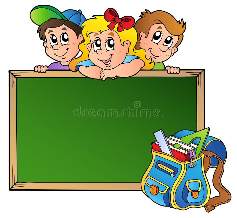 Download Board With Children And School Bag Stock Vector - Image: 18797847