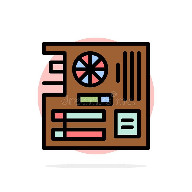 Board, Computer, Main, Mainboard, Mother Abstract Circle Background Flat color Icon stock illustration