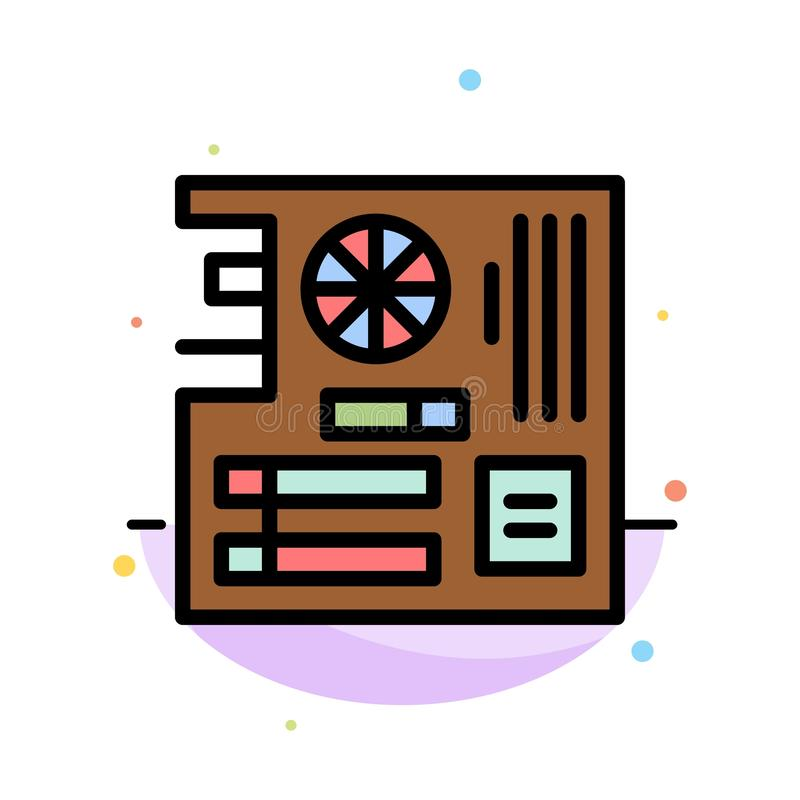 Board, Computer, Main, Mainboard, Mother Abstract Flat Color Icon Template royalty free illustration