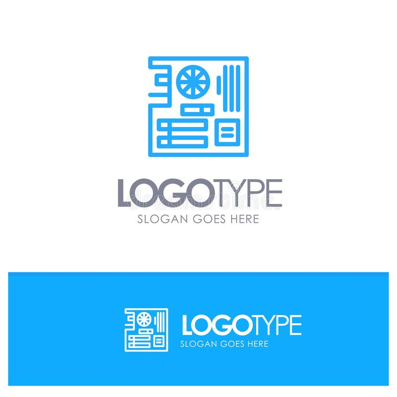 Board, Computer, Main, Mainboard, Mother Blue outLine Logo with place for tagline vector illustration