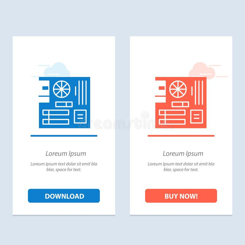 Board, Computer, Main, Mainboard, Mother  Blue and Red Download and Buy Now web Widget Card Template vector illustration