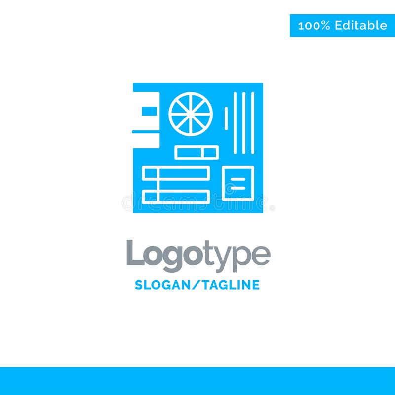 Board, Computer, Main, Mainboard, Mother Blue Solid Logo Template. Place for Tagline vector illustration
