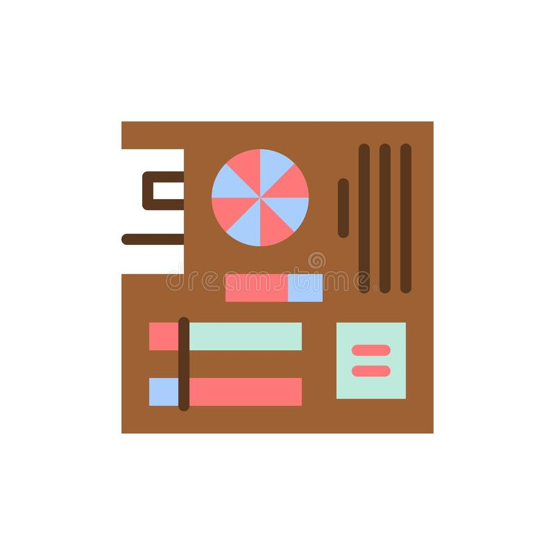 Board, Computer, Main, Mainboard, Mother  Flat Color Icon. Vector icon banner Template stock illustration