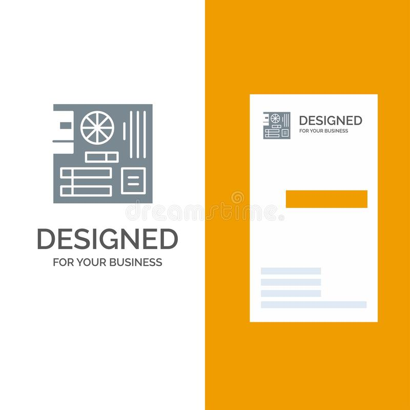 Board, Computer, Main, Mainboard, Mother Grey Logo Design and Business Card Template vector illustration