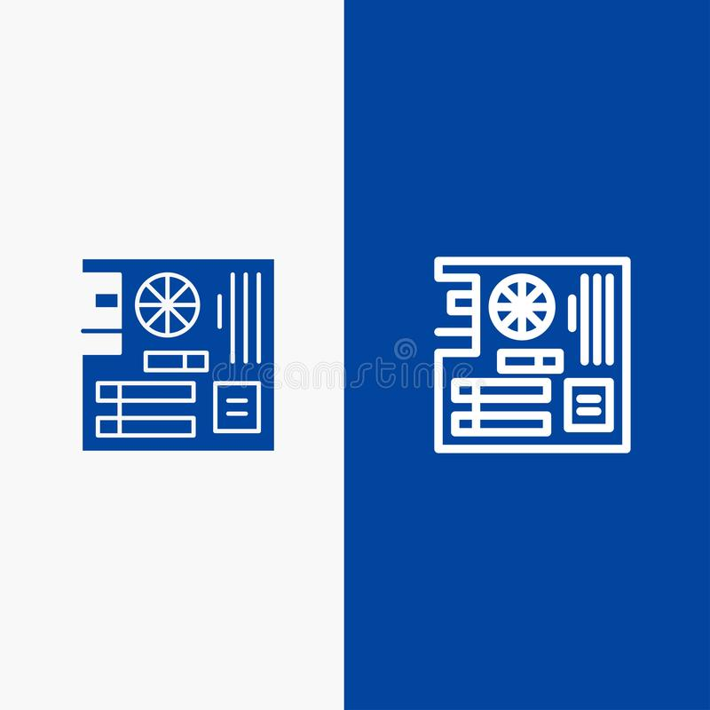 Board, Computer, Main, Mainboard, Mother Line and Glyph Solid icon Blue banner Line and Glyph Solid icon Blue banner stock illustration
