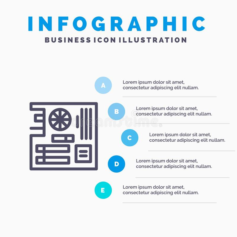 Board, Computer, Main, Mainboard, Mother Line icon with 5 steps presentation infographics Background stock illustration