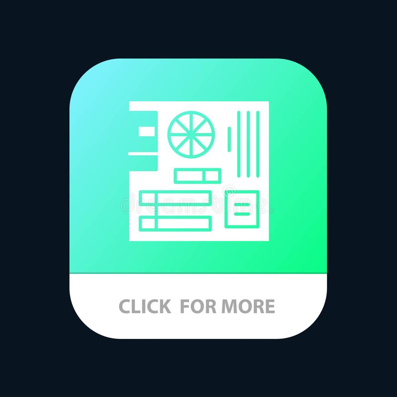 Board, Computer, Main, Mainboard, Mother Mobile App Button. Android and IOS Glyph Version stock illustration