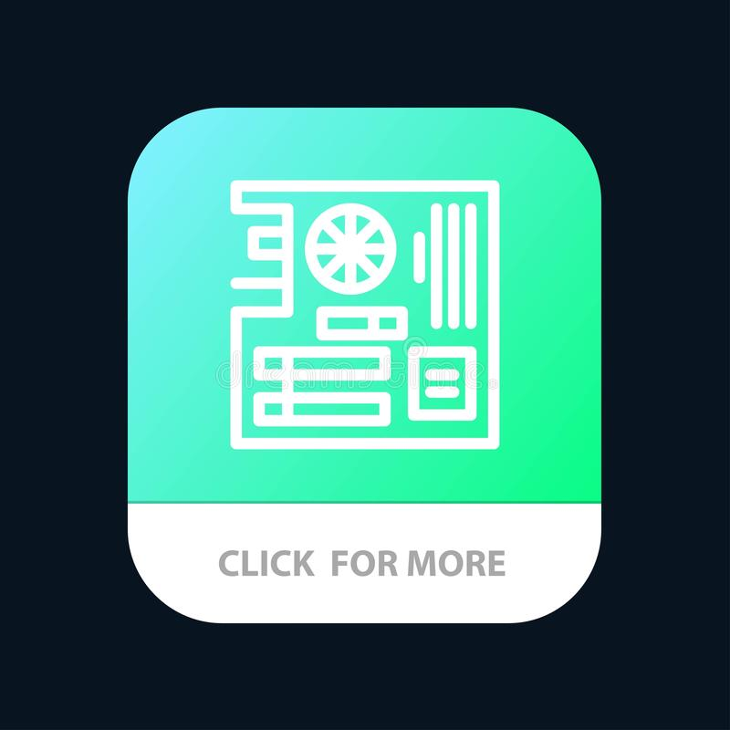 Board, Computer, Main, Mainboard, Mother Mobile App Button. Android and IOS Line Version stock illustration