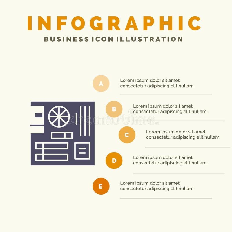 Board, Computer, Main, Mainboard, Mother Solid Icon Infographics 5 Steps Presentation Background vector illustration