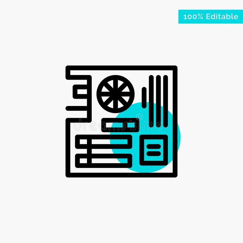Board, Computer, Main, Mainboard, Mother turquoise highlight circle point Vector icon stock illustration