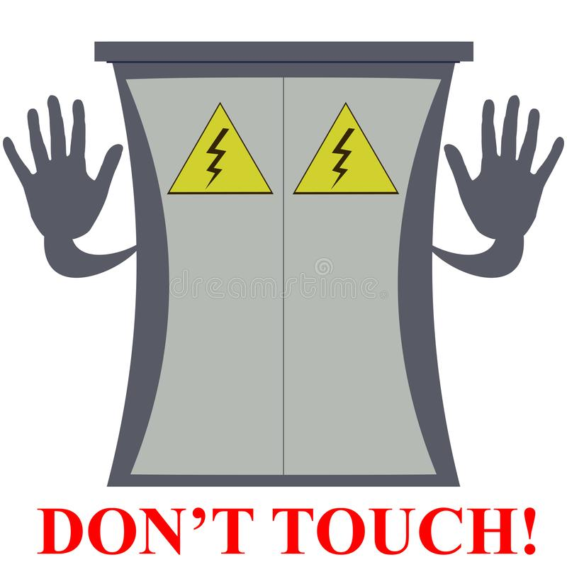 Board do not touch. The electric board urging not to get gives hands to stop attempts to touch vector illustration