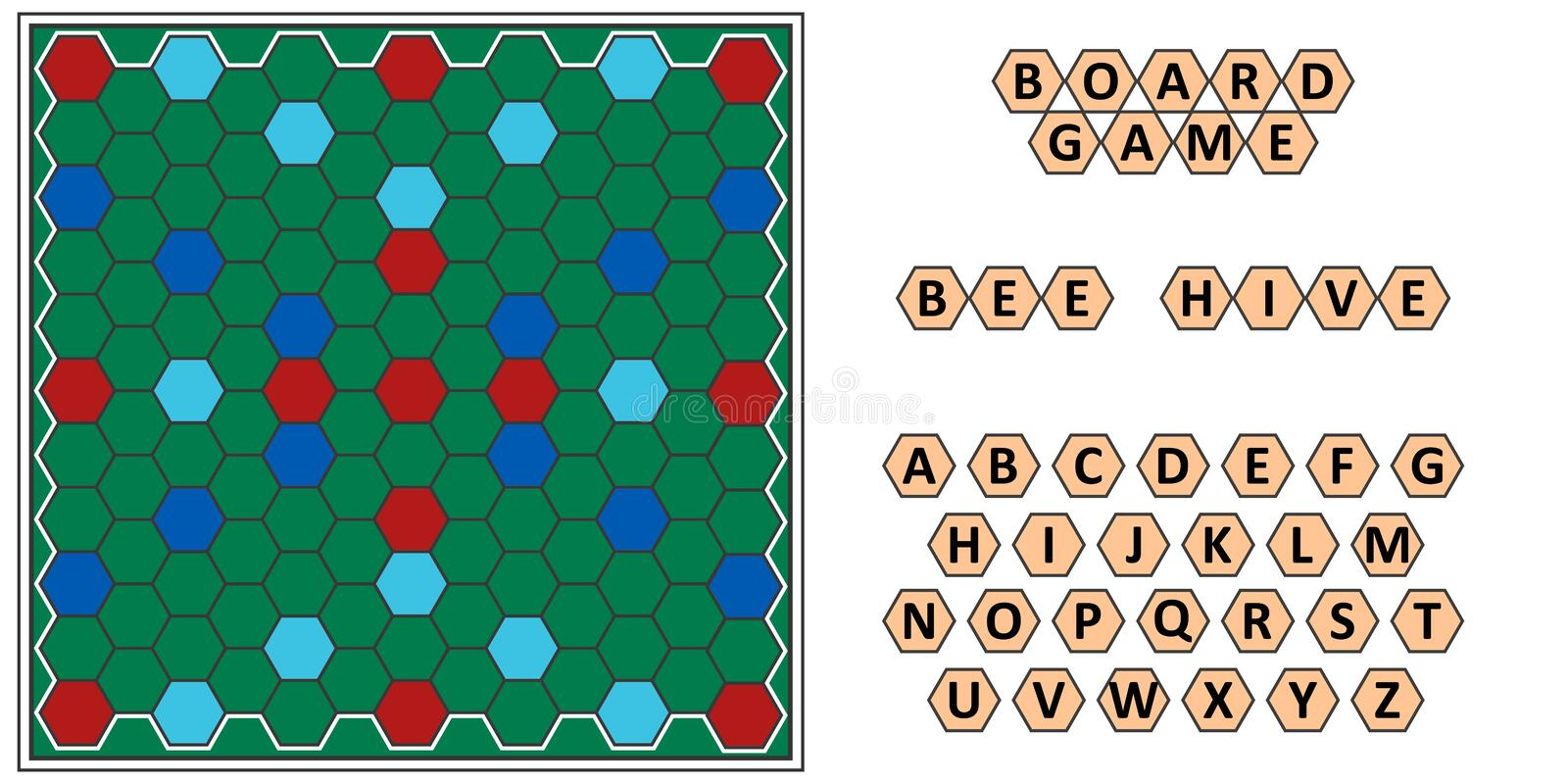 Board game Bee hive, developing erudition, bee honeycomb board and letters. Scrabble, vector board game for the family to play at night, writing words from royalty free illustration