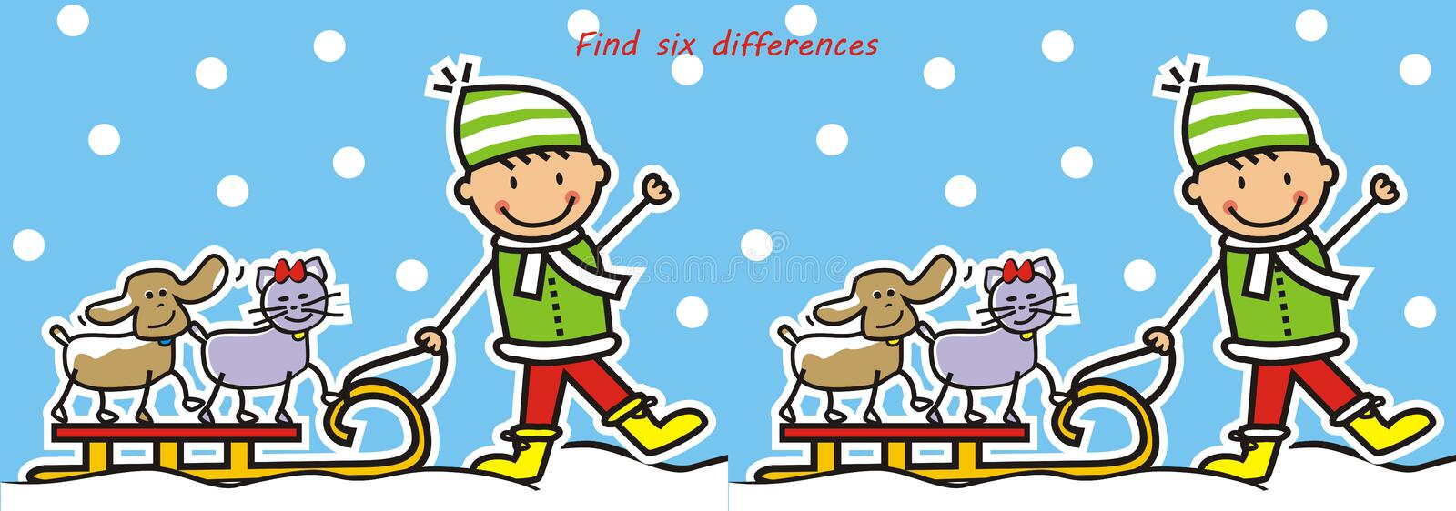 Board game for chidren, find six differences, winter game royalty free illustration