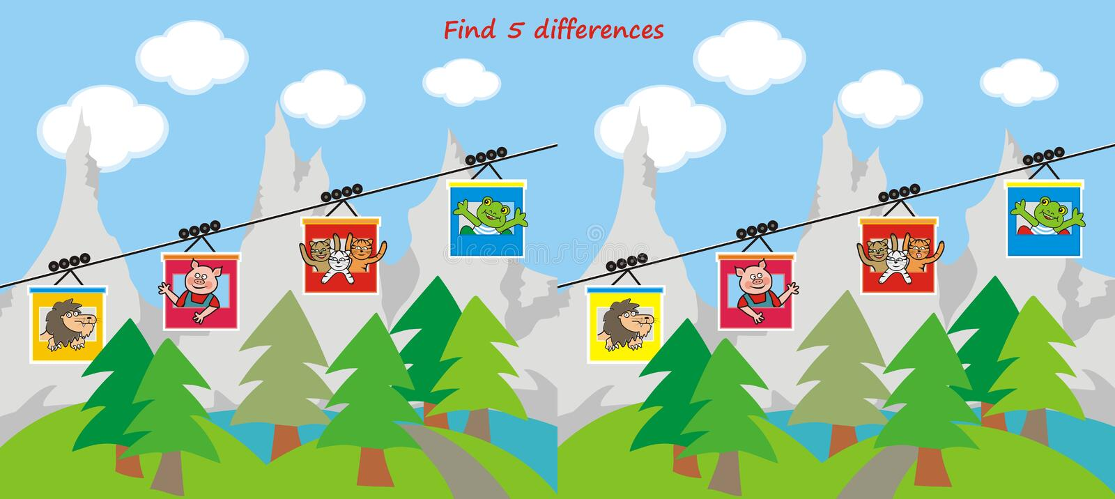 Board game for children, find five differences, animals take a cable car to the mountains vector illustration