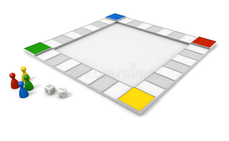 Board Game/Dice. Toy to play with the dice. Play board games. Shake the dice. Winners and losers. Simple board game. A lot of squares. With strategic planning stock illustration