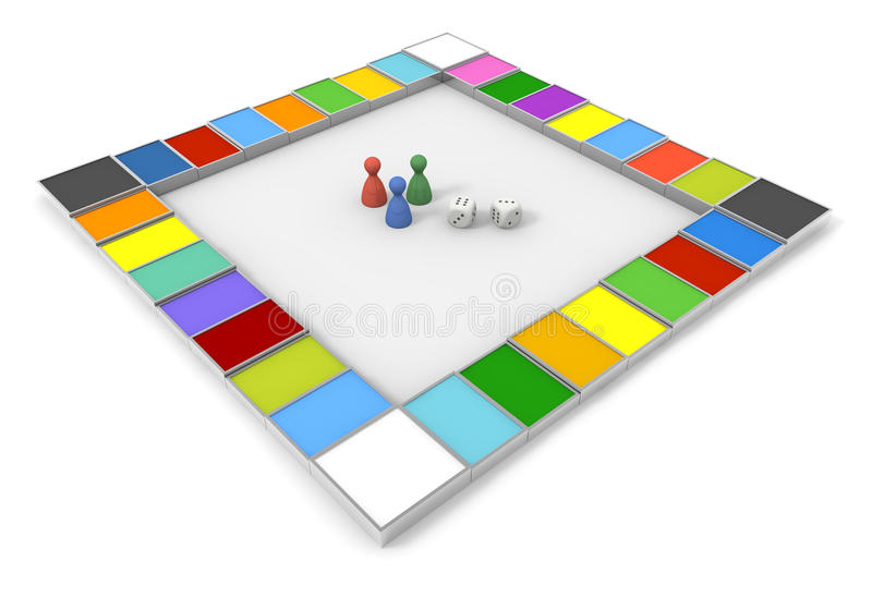 Board Game/Dice. Toy to play with the dice. Play board games. Shake the dice. Winners and losers. Simple board game. A lot of squares. With strategic planning royalty free illustration
