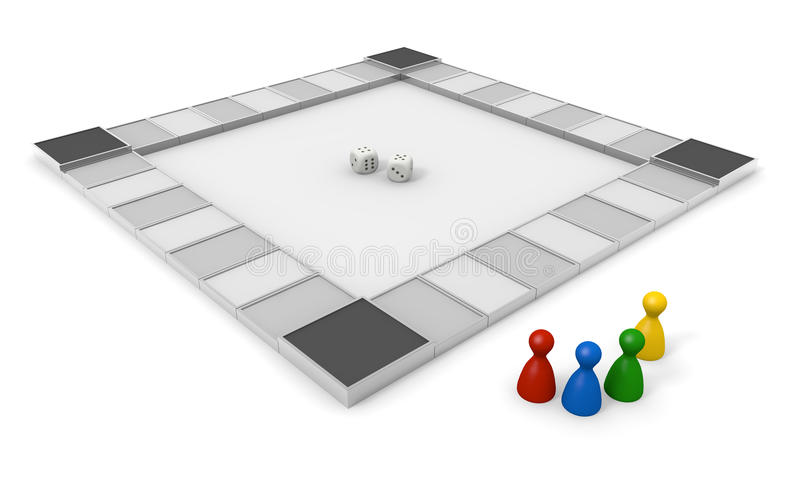 Board Game/Dice. Toy to play with the dice. Play board games. Shake the dice. Winners and losers. Simple board game. A lot of squares. With strategic planning vector illustration