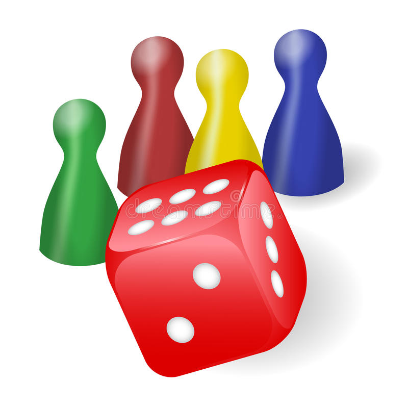 Board game figures with dice. Coloured board game figures with red dice royalty free illustration