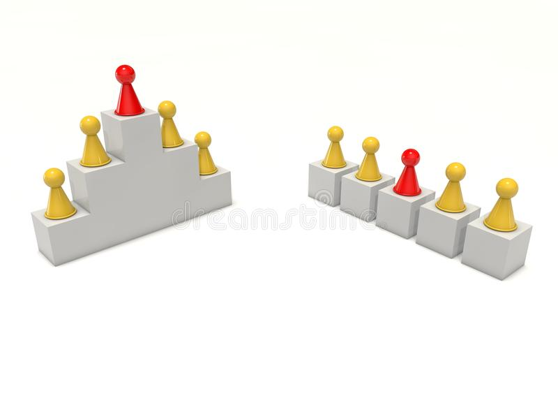 Board game figures team work hierarchy individual leader vector illustration