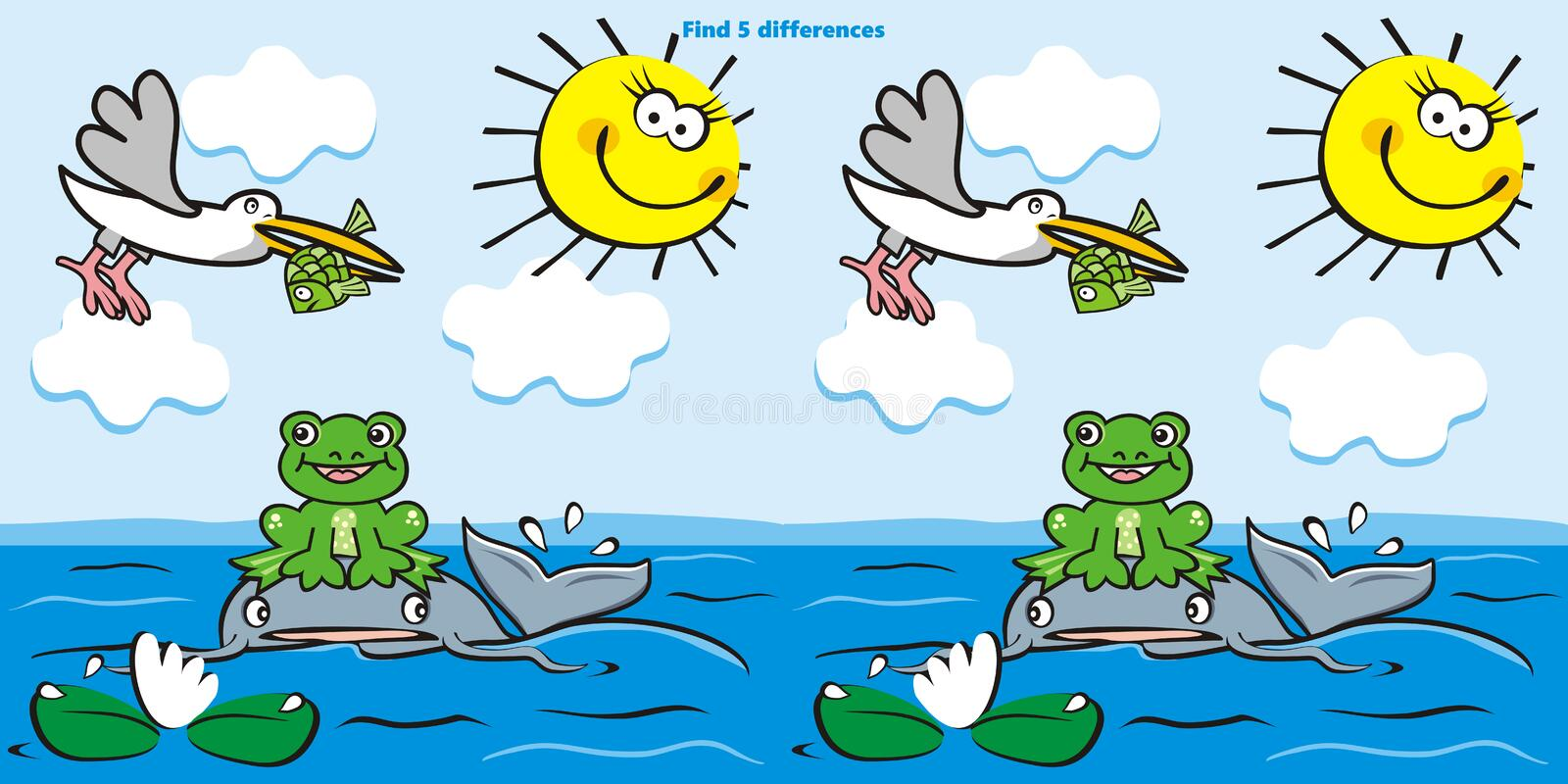 Board game, find five differences, water animals, eps vector illustration