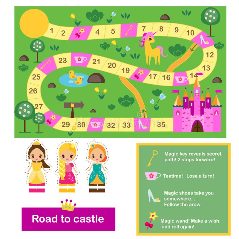 Free Board Game For Kids. Actvity For Girls. Fairy Tales Theme, Help Princeess Find Way To Castle Royalty Free Stock Images - 119270639