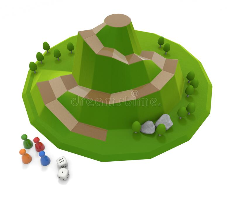 A board game inspired by nature. Play with 4 players. 3D illustration royalty free illustration