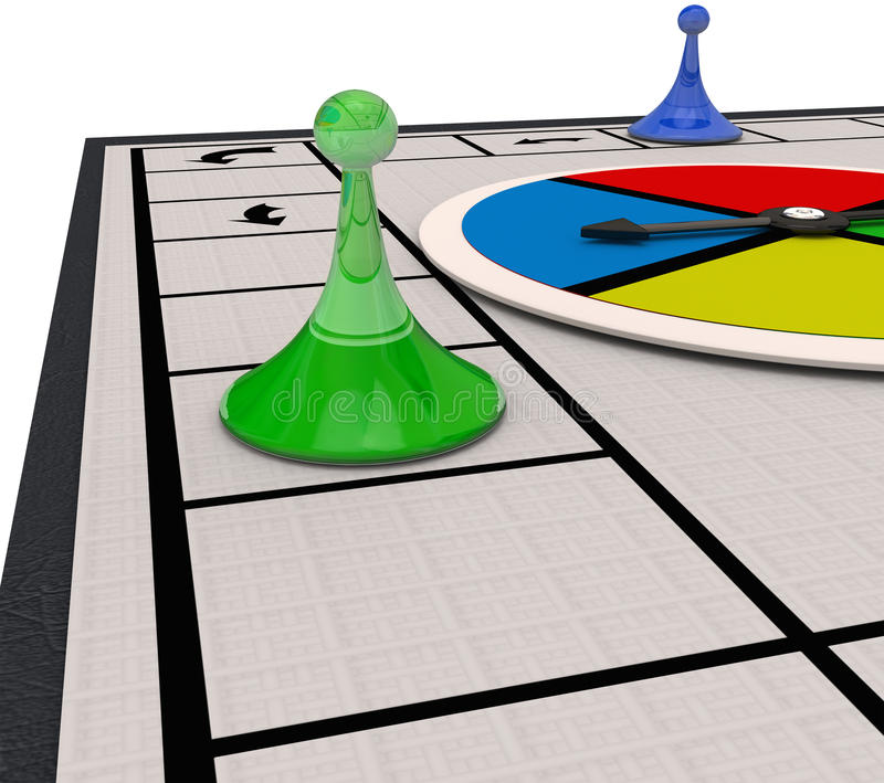 Board Game Playing Competition Moving Pieces Around Winning Matc. Board game with pieces moving around as you play and win a match, with blank copy space to add royalty free illustration