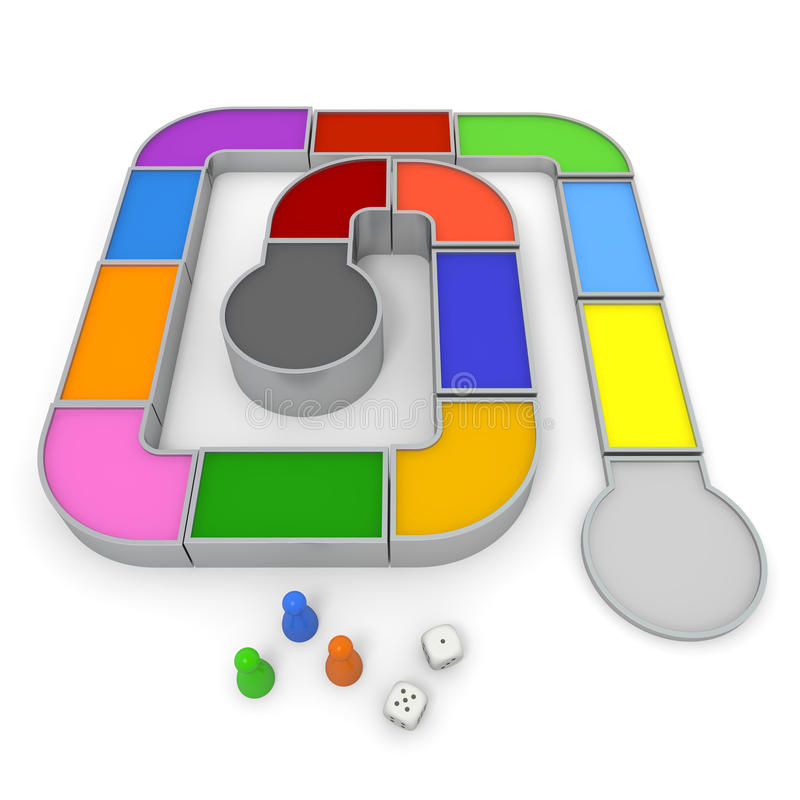 Board game. Three-dimensional board game. Simple to make. And prepare the dice and piece. Colorful area. Play by shaking the dice vector illustration