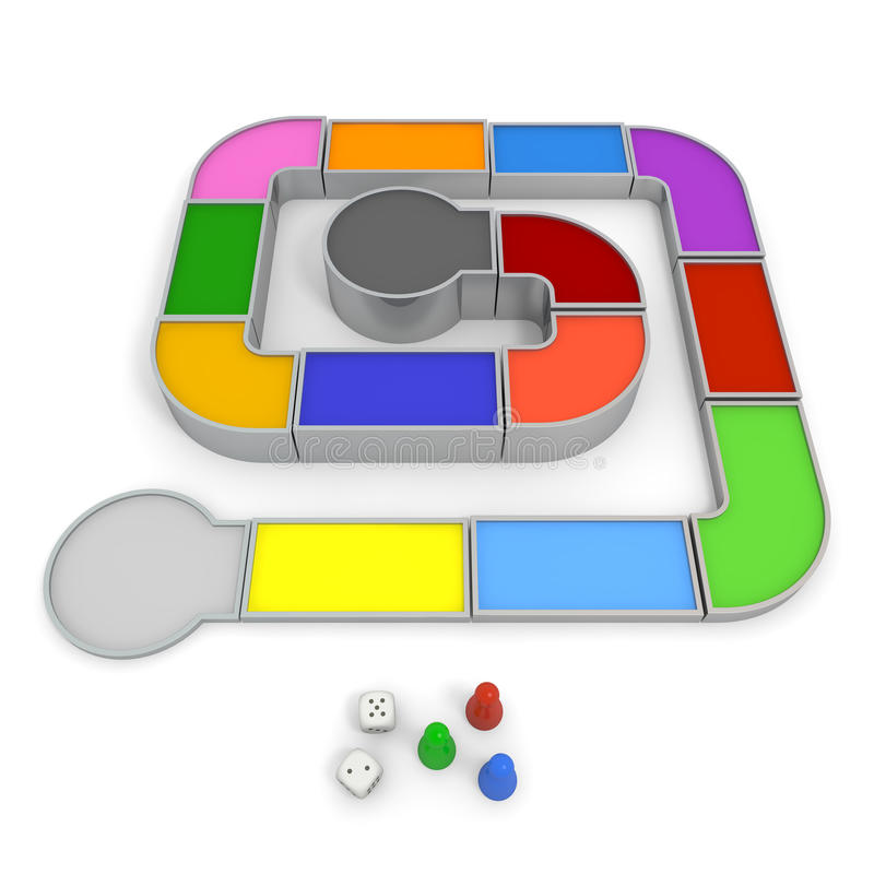 Board game. Three-dimensional board game. Simple to make. And prepare the dice and piece. Colorful area. Play by shaking the dice stock illustration