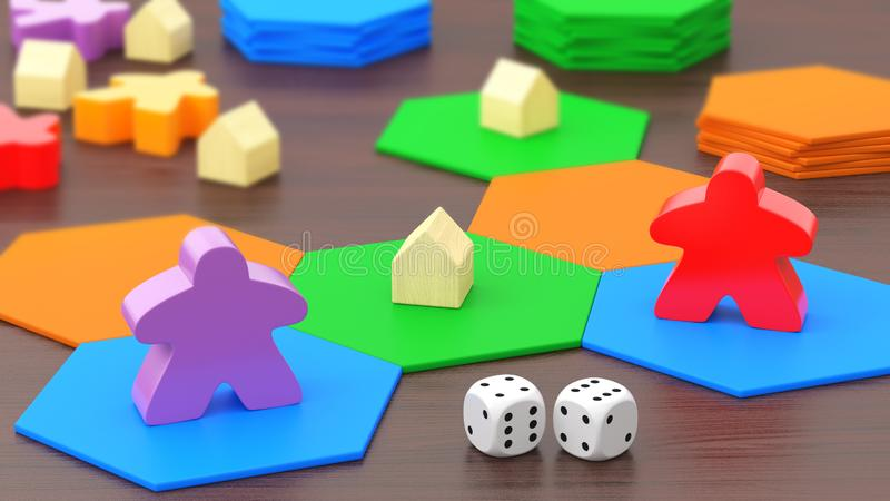 Board game, two figures and dice. 3D rendering vector illustration