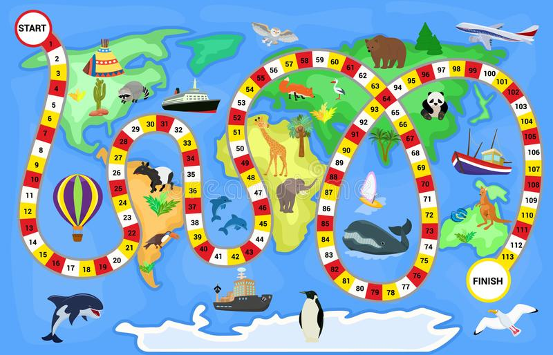 Board game vector cartoon kids boardgame on world map background with playing path or way starting in ocean and stock illustration