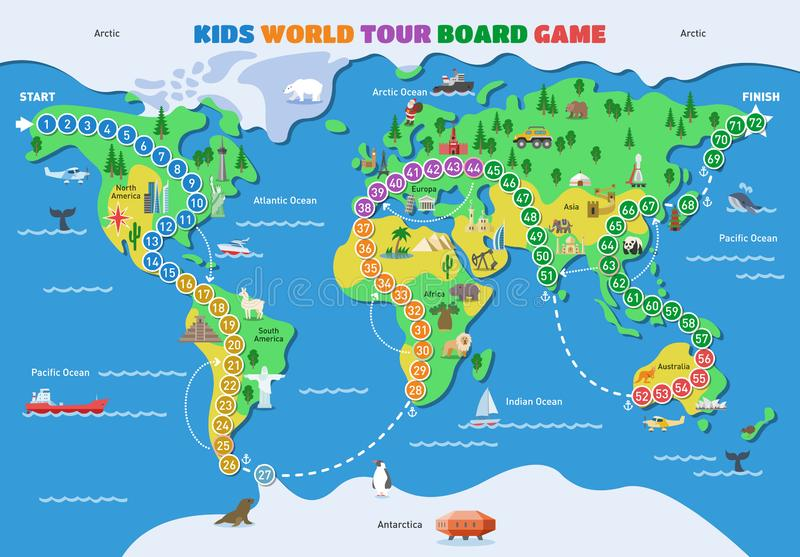 Board game vector world gaming map boardgame with ocean continents gameboard illustration set of global tour map-chart royalty free illustration