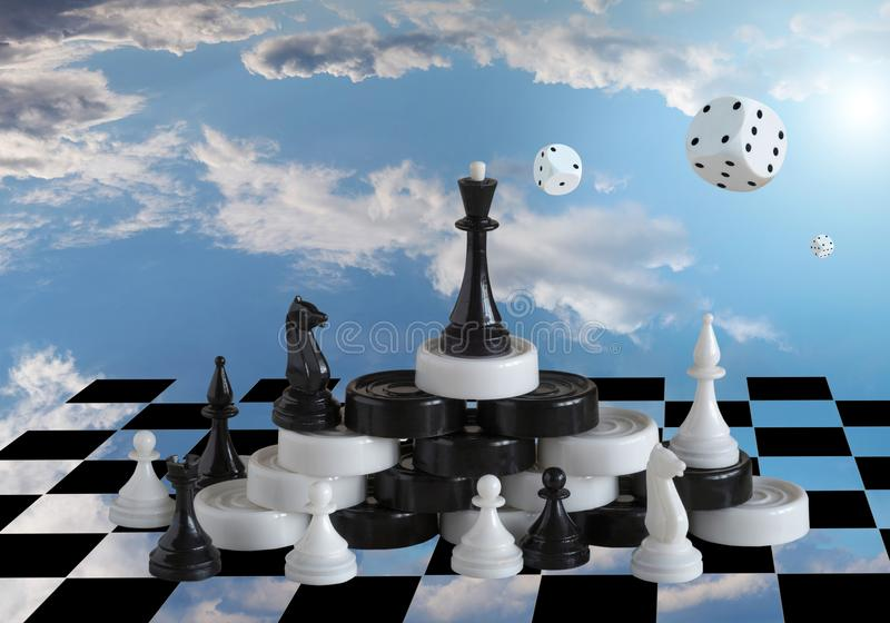 Board games against the background of the blue sky and white clouds royalty free illustration