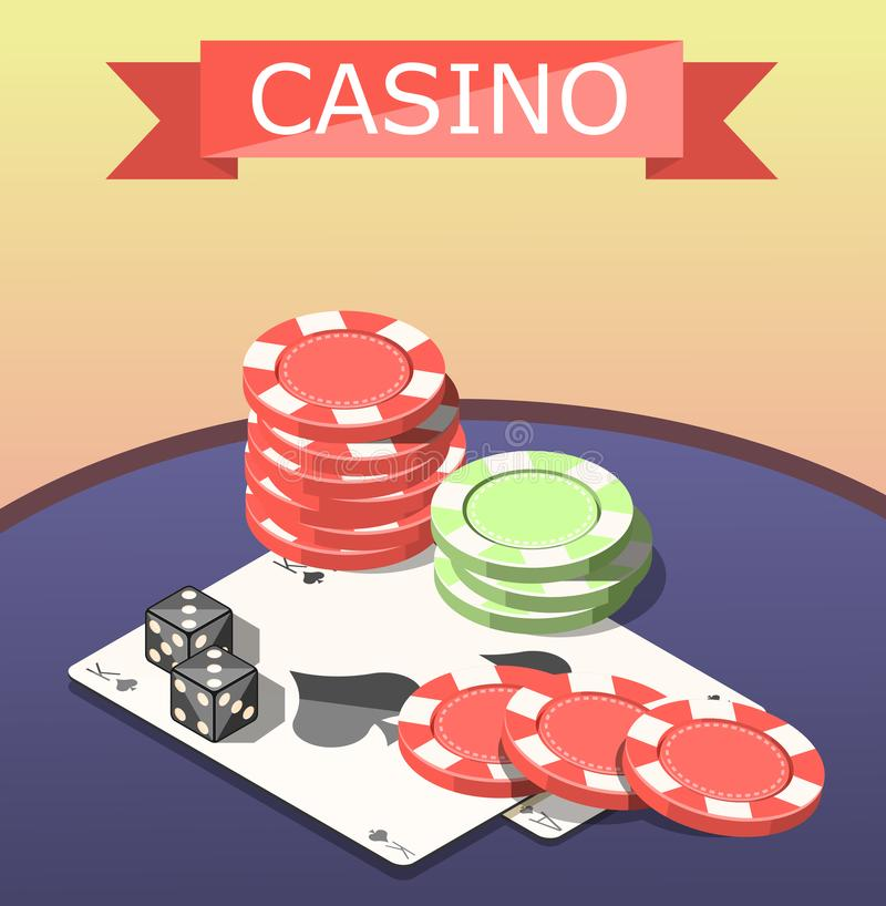 Casino Board Games Isometric Composition stock illustration