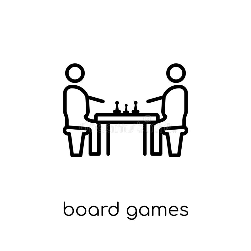 Board games icon from Entertainment collection. Board games icon. Trendy modern flat linear vector board games icon on white background from thin line vector illustration