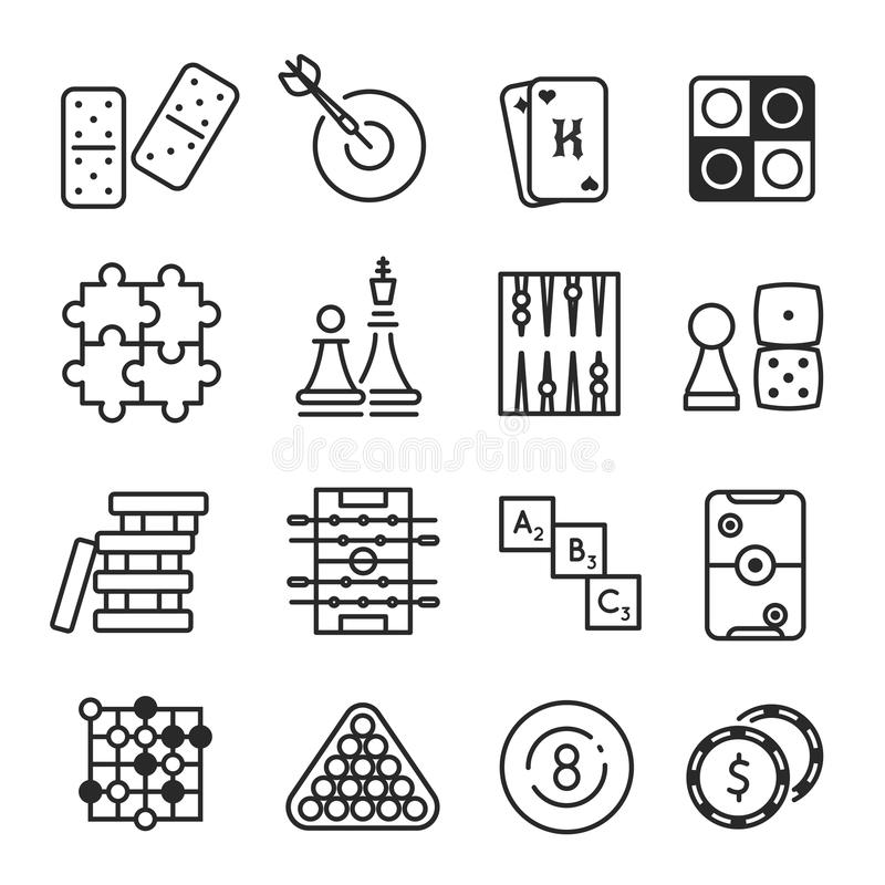 Board games icon set isolated on white background stock illustration