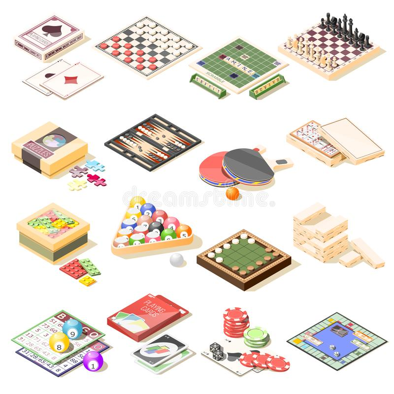 Board Games Isometric Icons Set royalty free illustration