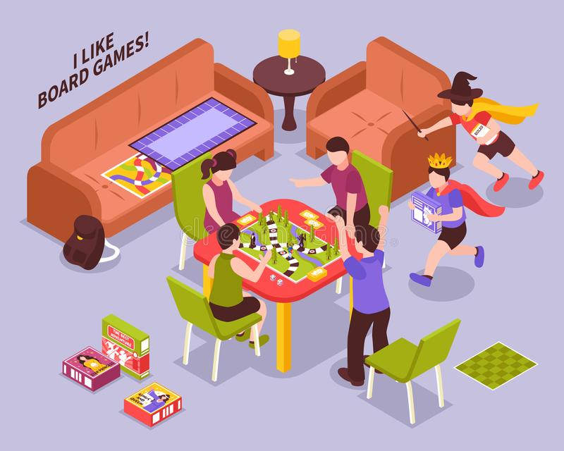 Board Games Kids Isometric Illustration vector illustration