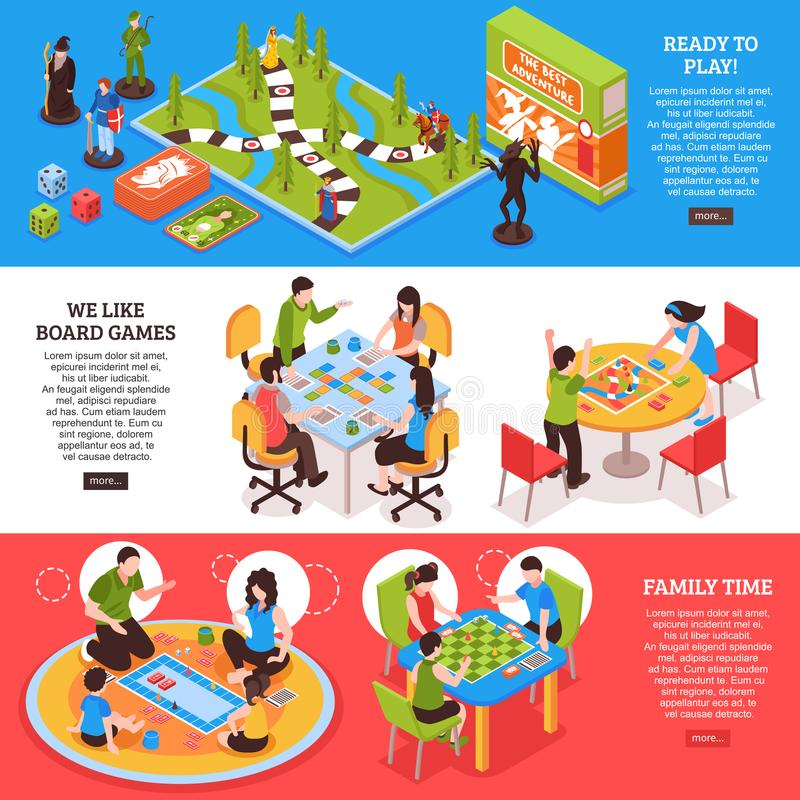 Board Games People Isometric Banners royalty free illustration