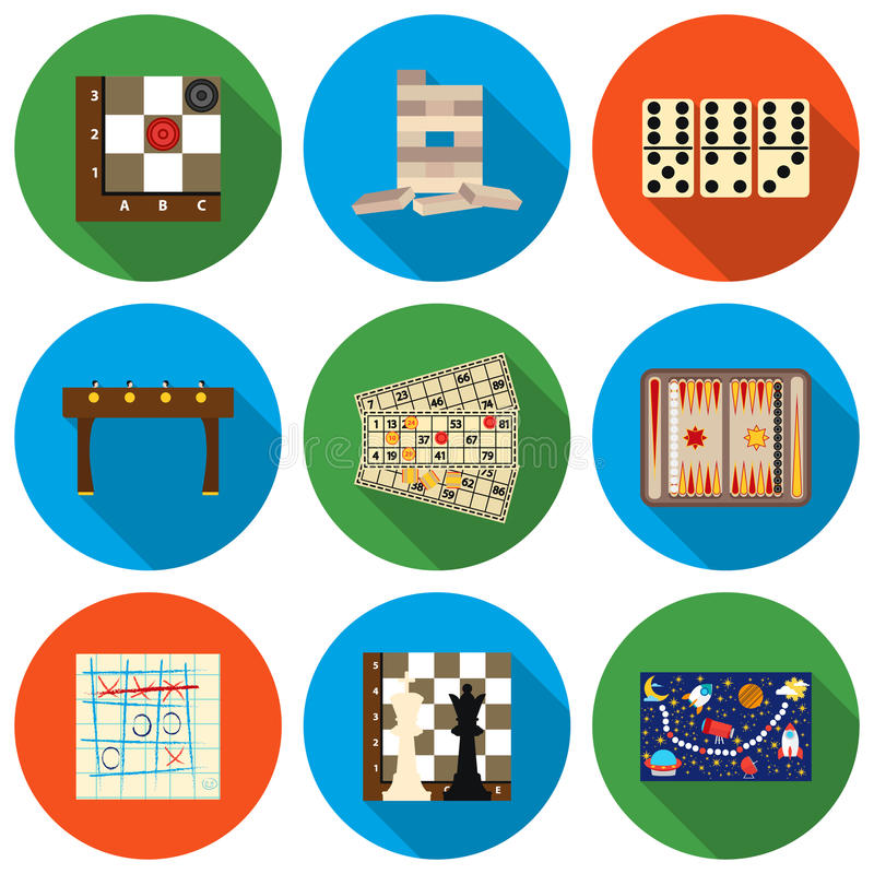 Board games set icons in flat style. Big collection board games vector symbol stock illustration stock illustration
