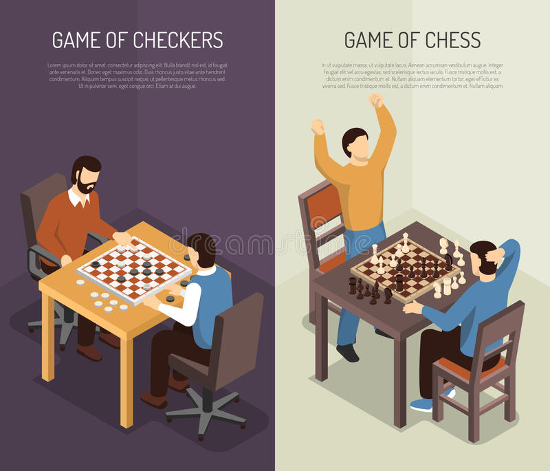 Board Games Vertical Banner Set. Two vertical board games vertical banner set with game of checkers and of chess headlines vector illustration stock illustration