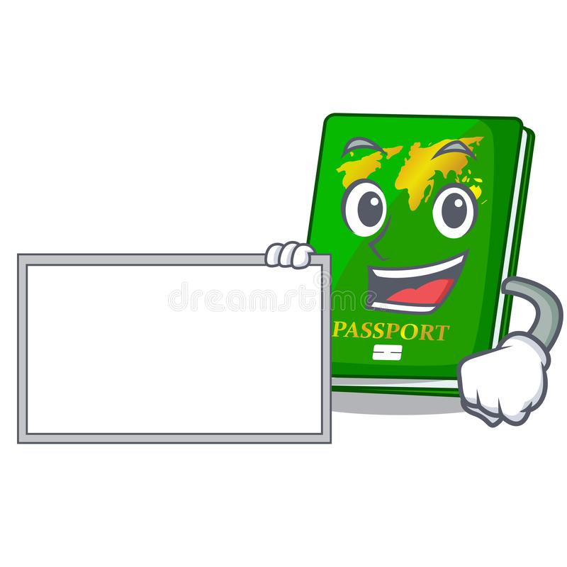 With board green passport in a character bag. Vector illustration vector illustration