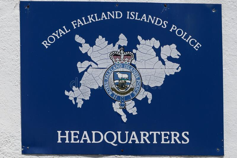 Board on Royal Police Station in Stanley, Falkland Falkland Islands. Board  on Headquarter of the Royal Police Station in Stanley, Falkland. The Armorial has a royalty free stock photography