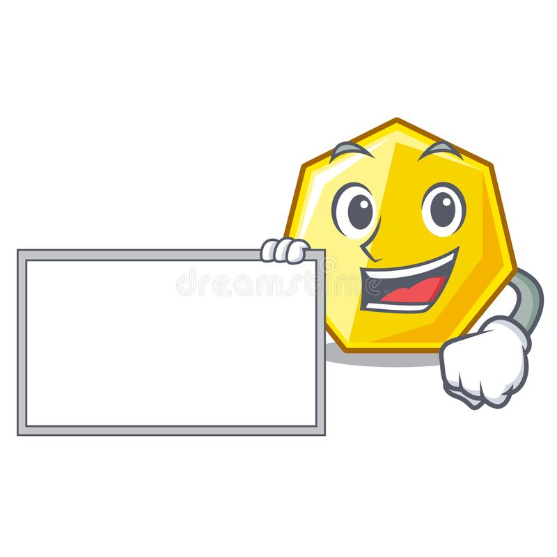 With board heptagon in the a cartoon shape stock illustration