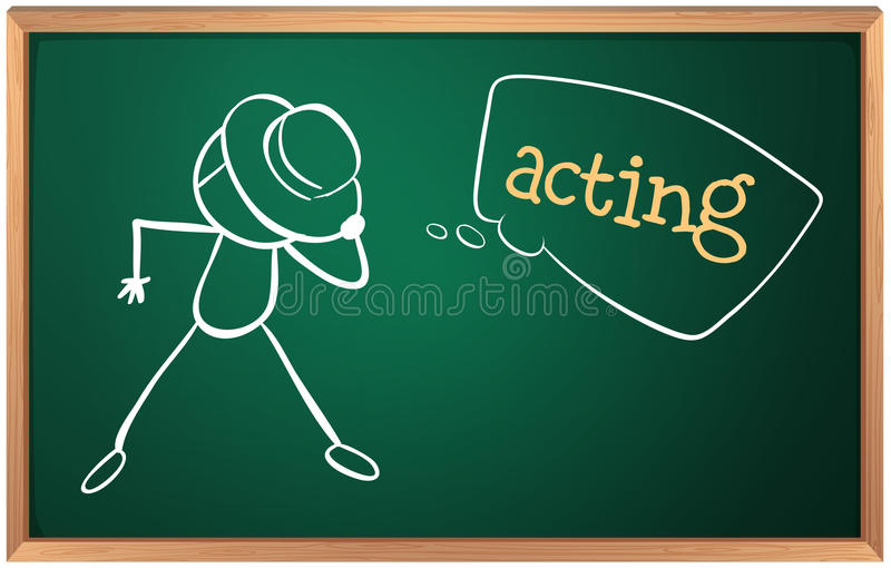 A board with an image of a man acting. Illustration of a board with an image of a man acting on a white background stock illustration
