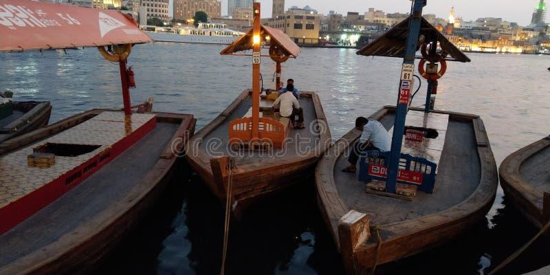 Board journey in Bur-Dubai in UAE stock photos