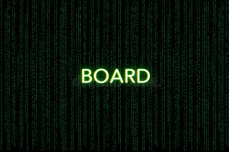 Board, keyword of scrum, on a green matrix background stock photos